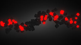 Glowing red 3D cubes wave Royalty Free Stock Photos