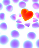 Glowing red heart. Surrounded by violet hearts on white stock illustration