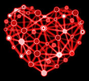 Glowing red heart with connected points Royalty Free Stock Photography