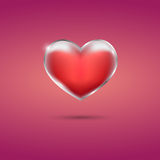 Glowing red heart with frame on pink background. Eps10 Stock Photos