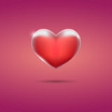 Glowing red heart on pink background. Eps10 Stock Photography