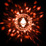 Glowing red hot ethereum ETH with explosion particles and warp binary data background. royalty free illustration