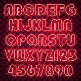 Glowing red neon alphabet and digits. Glowing red alphabet with letters from A to Z and digits from 0 to 9. Glowing neon effect. Every letter is separate unit royalty free illustration