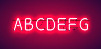 Glowing Red Neon Alphabet. Glowing Red Neon Alphabet from A to G with wires, tubes, brackets and holders Royalty Free Stock Photo