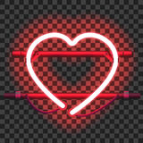 Glowing red neon heart Royalty Free Stock Photography