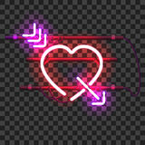 Glowing red neon heart pierced with purple arrow Stock Images