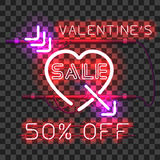 Glowing red neon heart pierced with purple arrow Royalty Free Stock Photo