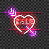 Glowing red neon heart pierced with purple arrow Stock Photos