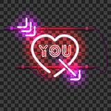 Glowing red neon heart pierced with purple arrow Royalty Free Stock Image