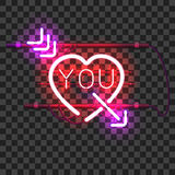 Glowing red neon heart pierced with purple arrow Stock Photography