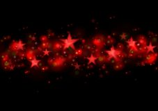 Glowing red stars dark illustration Royalty Free Stock Photos