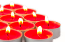 Glowing red tea lights Royalty Free Stock Photo