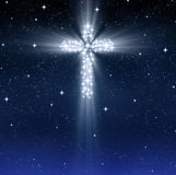 Glowing religious cross in stars stock illustration