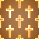 Glowing religious crosses seamless pattern. Vector illustration. Eps 10 Stock Image