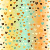 Glowing retro heart patterrn. Seamless vector love background. Beige, brown, orange, yellow, green hearts on gradient backdrop Royalty Free Stock Photos