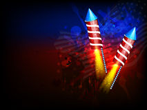 Glowing Rocket for American Independence Day. American Independence Day celebration with glowing exploding Rockets on abstract National Flag colors background Royalty Free Stock Image