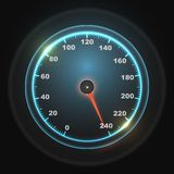 Glowing round car speedometer Royalty Free Stock Images