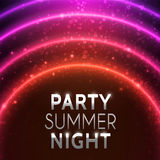 Glowing Round Frame. Vector illustration. Banner for summer night party. Abstract background with shiny light circles and bokeh. Galaxy and stars in space Royalty Free Stock Photography