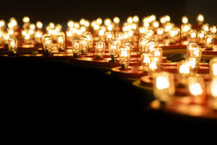 Glowing round tungsten lamps Stock Photography