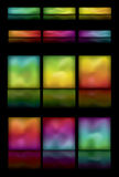 Glowing rounded rectangle gradient buttons. Note: Gradient Meshes are used. This is a set of glowing colorful rounded rectangle buttons on a black background stock illustration
