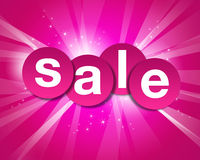 Glowing sale label. Floating sale label with glowing red background and flares Stock Image