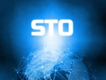 Glowing Security Token Offering STO text on 3D Rendering blue dotted world and abstract wired global network background. royalty free stock image