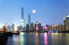 Glowing Shanghai Skyline Royalty Free Stock Photo