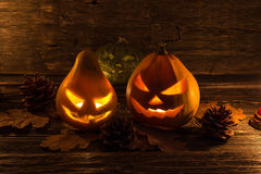 Glowing sinister pumpkin Stock Images