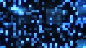 Glowing Small Blue Squares Backdrop. An impressive 3d illustration of small shining blue and white squares in the black background. They make some puzzling Stock Photos