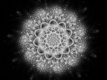 Glowing space mandala abstract background black and white. Glowing space mandala or snowflake abstract background, hinduism, black and white, 3D rendering royalty free illustration