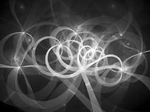 Glowing spaghetti curves in space black and white texture. Glowing spaghetti curves in space, black and white texture, computer generated abstract background, 3D Royalty Free Stock Photos