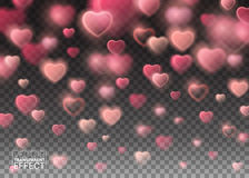 Glowing Sparkling Pink Hearts on Transparent Background. Stock Images