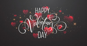 Glowing of sparkling red hearts on transparent background. Realistic particle glitter effect. Valentines day Stock Image