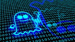 Glowing spectre symbol on binary blue floor. Blue ghost symbol floating over binary floor spectre icon cybersecurity 3D illustration Royalty Free Stock Images