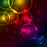 Glowing spectrum bubbles. Abstract glowing spectrum bubbles background with copy space royalty free illustration