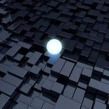 Glowing sphere. 3D render of glowing sphere among dark cubes Stock Image