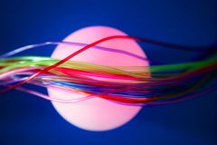 Glowing sphere with colorful wires royalty free stock photos