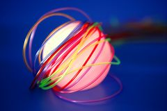Glowing sphere with colorful wires Stock Photos