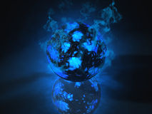 Glowing sphere object filled with energy. Glowing shpere of energy render Royalty Free Stock Image