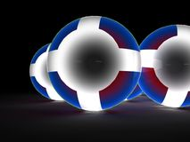Glowing spheres. An illustration of glowing spheres with white glowing crosses at the center Stock Photo