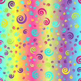 Glowing spiral background. Seamless vector gradient pattern. Cyan, yellow, rose, green, violet spirals on gradient backdrop stock illustration