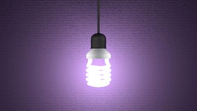 Glowing spiral light bulb hanging on violet Royalty Free Stock Photography