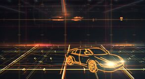 Transport and vehicle concept. Glowing sports car on abstract grid background. Transport and vehicle concept. 3D Rendering Stock Images