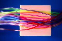 Glowing square wires such a wired communication Royalty Free Stock Photo