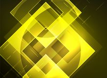 Glowing squares in the dark, digital abstract background Stock Photography