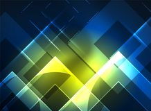 Glowing squares in the dark, digital abstract background Royalty Free Stock Photography