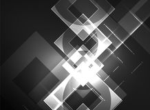 Glowing squares in the dark, digital abstract background Royalty Free Stock Photos