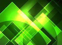 Glowing squares in the dark, digital abstract background Stock Photos