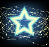 Glowing Star. Covered by starry lines stock illustration
