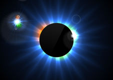 Glowing star beams abstract background. With black blank circle. Shiny eclipse vector design Stock Photography